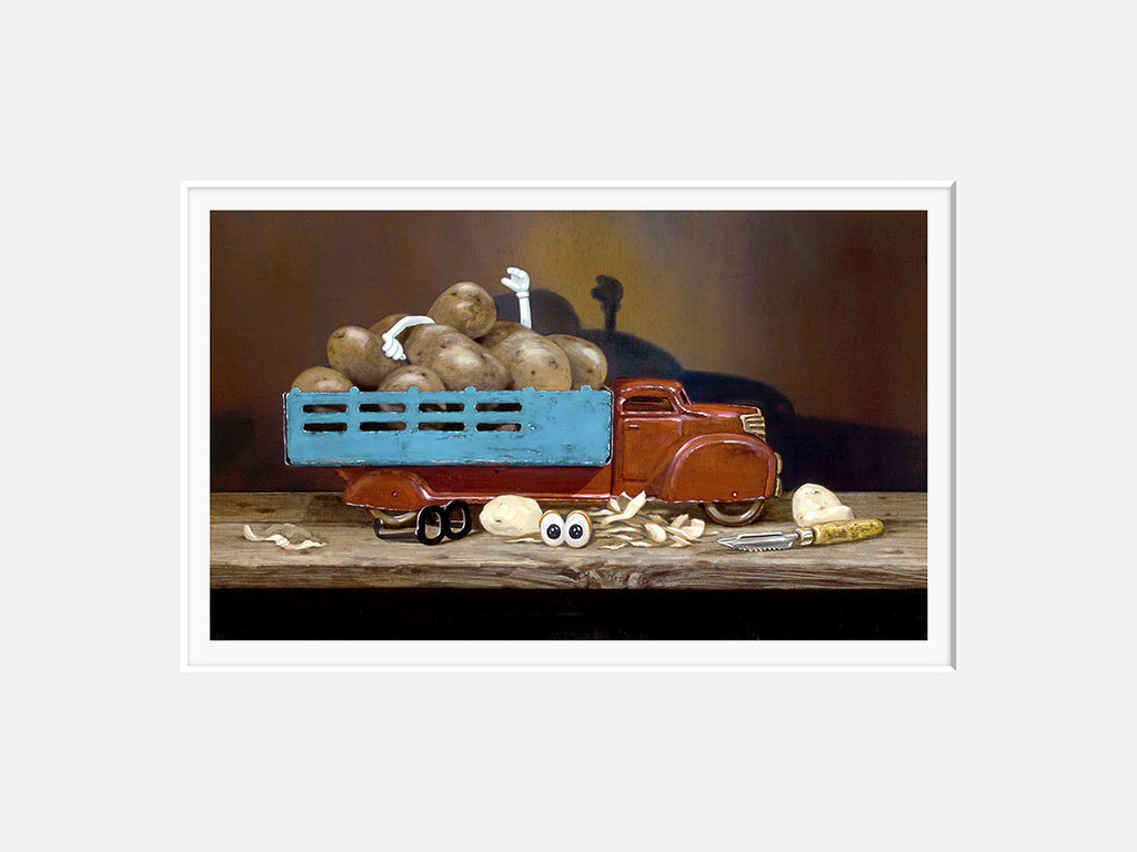 The Chips Are Down, toy truck full of potatoes, Mr potato head toy, Richard Hall, matted print