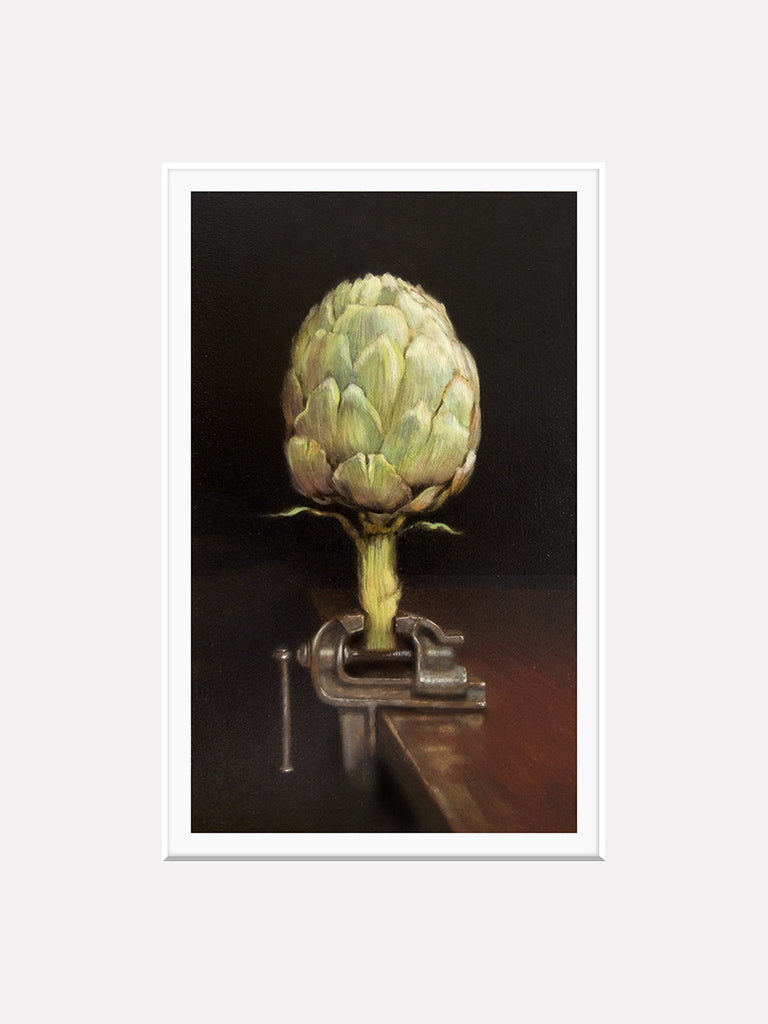 Choke Hold, unique kitchen decor, artichoke in clamp, Richard Hall, matted print, visual pun, humor