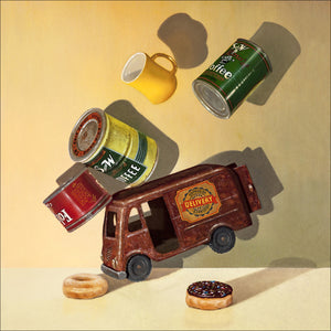 Coffee Break, Richard Hall, canvas giclee print, coffee cans, Delivery Van, Richard Hall Fine Art