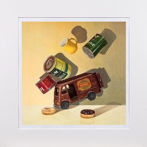 Coffee Break, Richard Hall matted print, coffee cans, Delivery Van, Richard Hall Fine Art