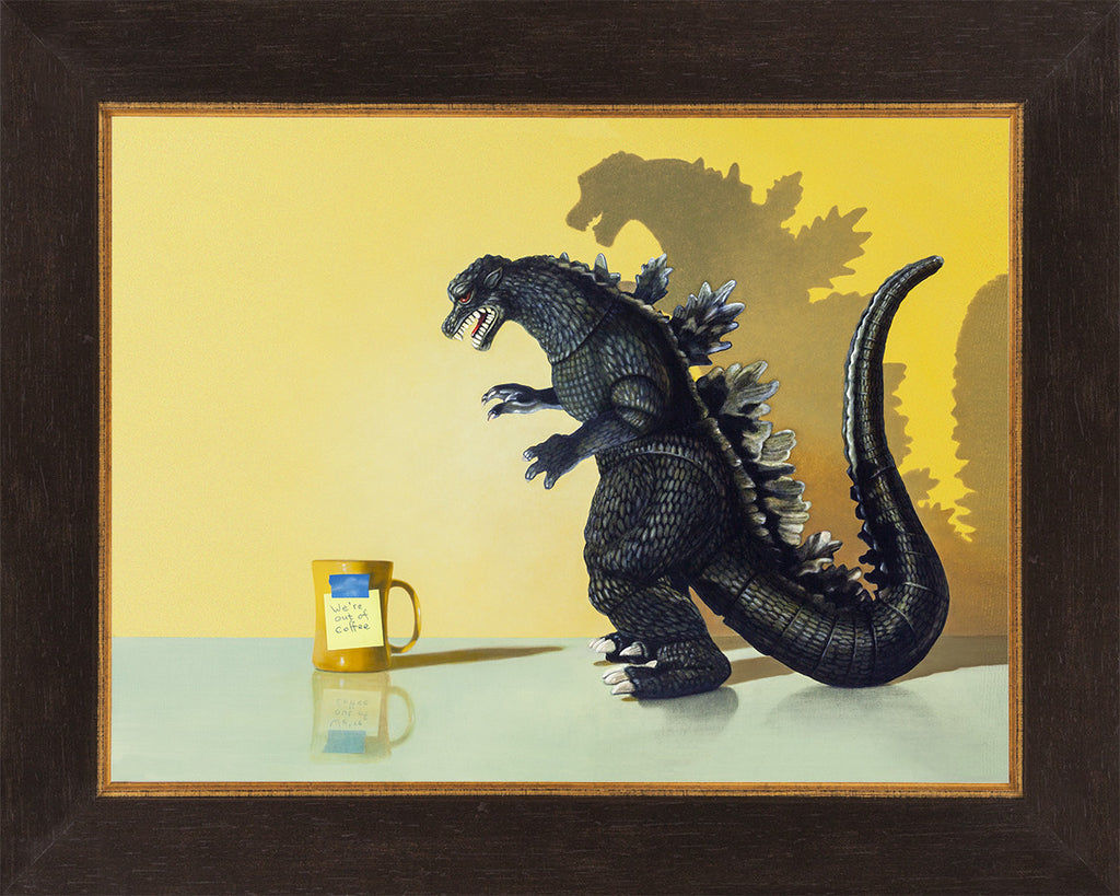 Coffee monster, matted print, coffee, godzilla, humor, Richard Hall Fine Art