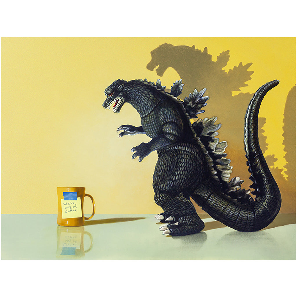 Coffee monster, canvas giclee print, coffee, godzilla, humor, Richard Hall Fine Art