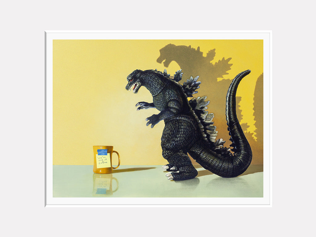 Coffee monster matted print, coffee, godzilla, humor, Richard Hall Fine Art