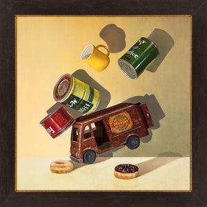 Coffee Break, Richard Hall, framed giclee print, coffee cans, Delivery Van, Richard Hall Fine Art