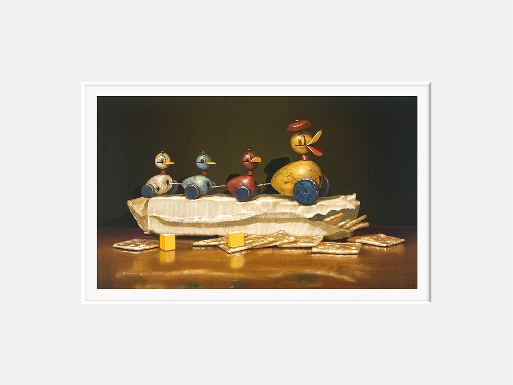 Crackers and Quackers, duck family toy, cheese and crackers, Richard-Hall matted print