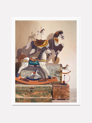 Day at the Races, Richard Hall, matted giclee print, toy horses, Richard Hall Fine Art, realism