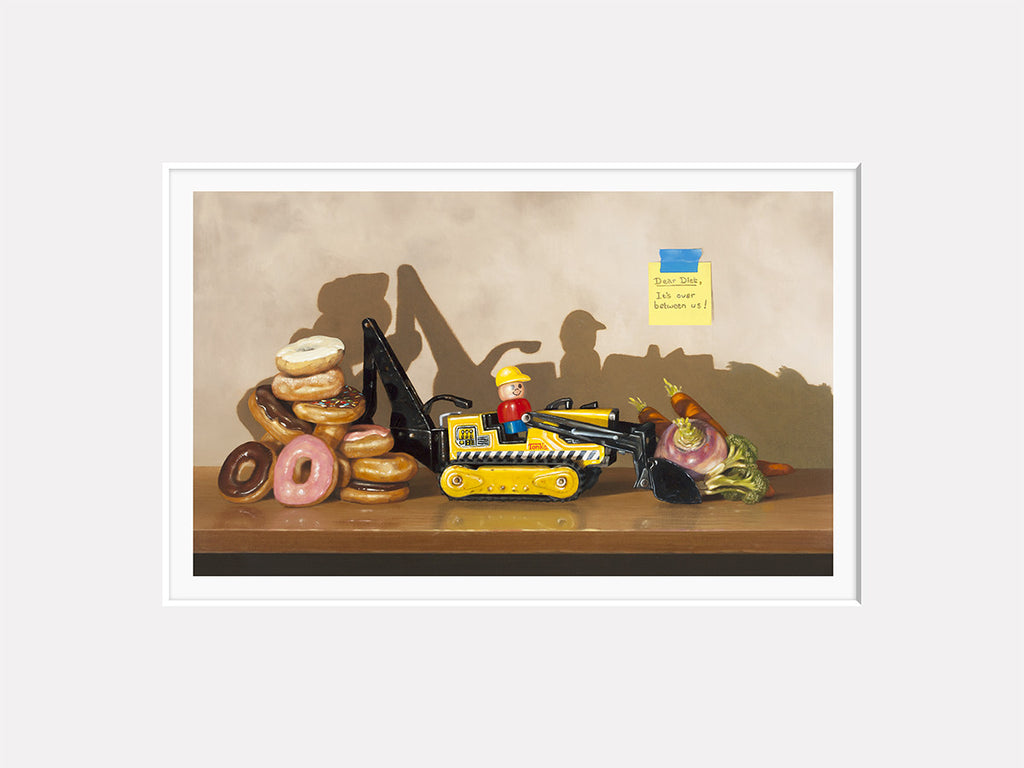 Dear Diet, It's Over, Richard Hall matted print, Donuts, Veggies, trompe l'oeil, diet humor