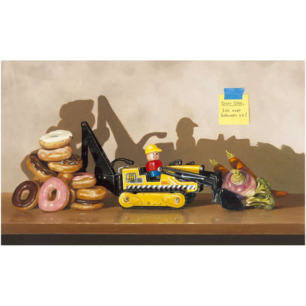 Dear Diet, It's Over, Richard Hall canvas giclee print, Donuts, Veggies, trompe l'oeil, diet humor