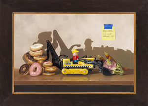 Dear Diet, It's Over, Richard Hall, framed canvas giclee print, Donuts, Veggies, trompe l'oeil, diet humor