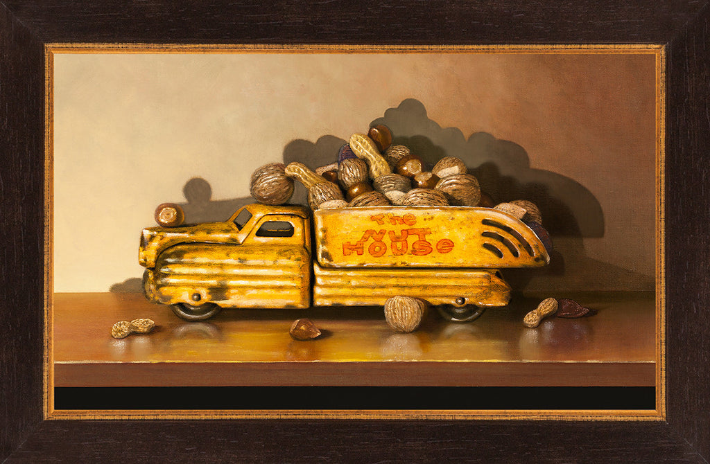 Driving Me Nuts, toy truck, nuts, nut house, Richard Hall, framed canvas giclee print, visual pun, humor