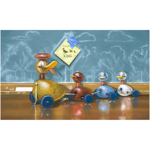 Duck Crossing, Richard Hall, canvas giclee print, Toy ducks, trompe l'loeil, nursery decor