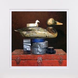 Duck Tape, Decoy, tape, toolbox, Richard Hall visual pun, humor, matted print, Richard Hall fine art