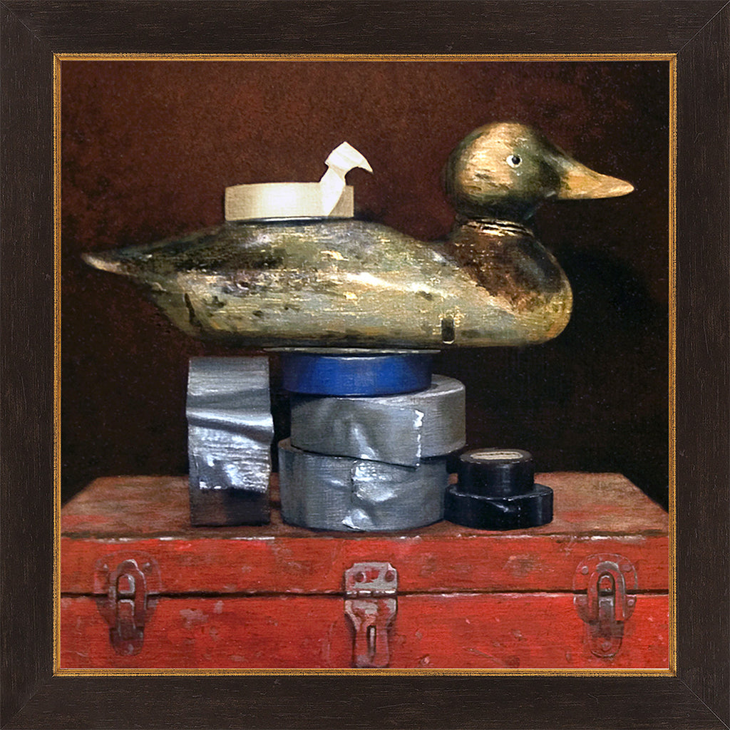 Duck Tape, Decoy, tape, toolbox, Richard Hall visual pun, humor, framed giclee print, Richard Hall fine art