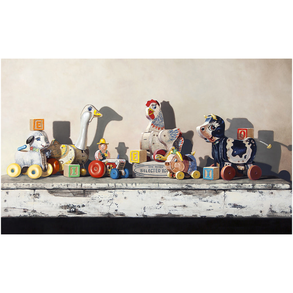 EIEIO, Richard Hall, canvas giclee print, farm pull toys, blocks, nursery decor, Richard Hall Fine Art