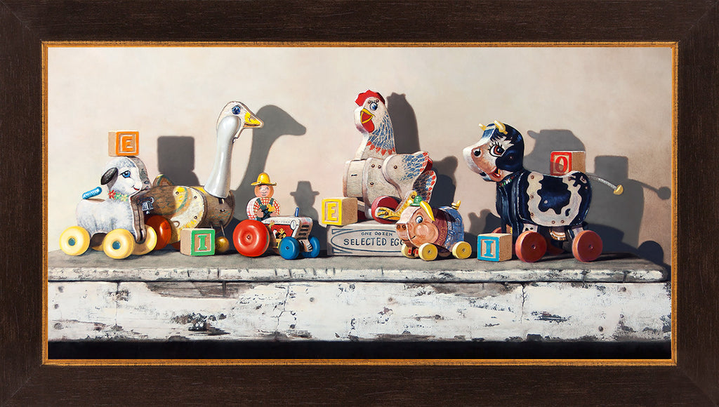 EIEIO, Richard Hall, framed canvas giclee print, farm pull toys, blocks, nursery decor, Richard Hall Fine Art