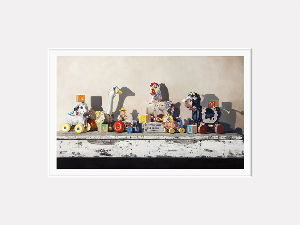 EIEIO, Richard Hall matted print, farm pull toys, blocks, nursery decor, Richard Hall fine art