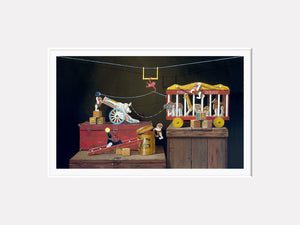 Escape Act, Circus animal toys escape, 1960s, Richard Hall matted print