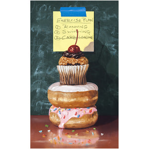 Exercise Plan, post-it note, donuts, cupcake, Richard Hall giclee print, diet humor