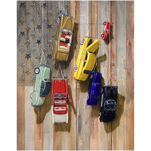 Faded glory, Richard Hall, canvas giclee print, hanging vintage toy cars, Old glory flag,