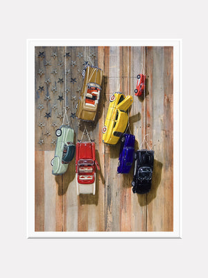 Faded glory, Richard Hall, matted giclee print, hanging vintage toy cars, Old glory flag,