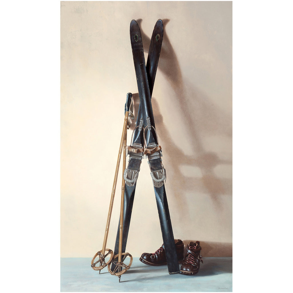 First Tracks, canvas giclee print, 1940s skis, boots, poles, Richard Hall Fine Art