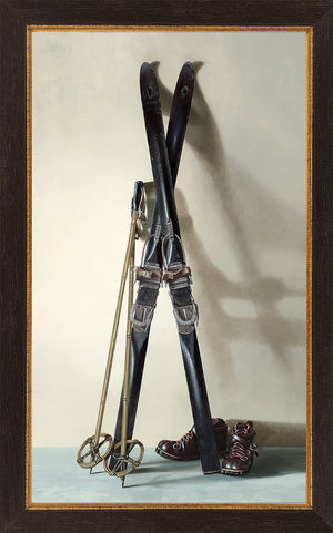 First Tracks, framed canvas giclee print, 1940s skis, boots, poles, Richard Hall Fine Art
