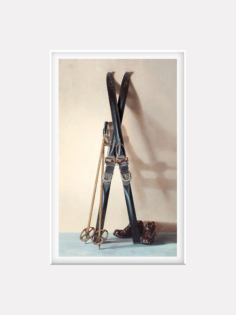 First Tracks, matted giclee print, 1940s skis, boots, poles, Richard Hall Fine Art