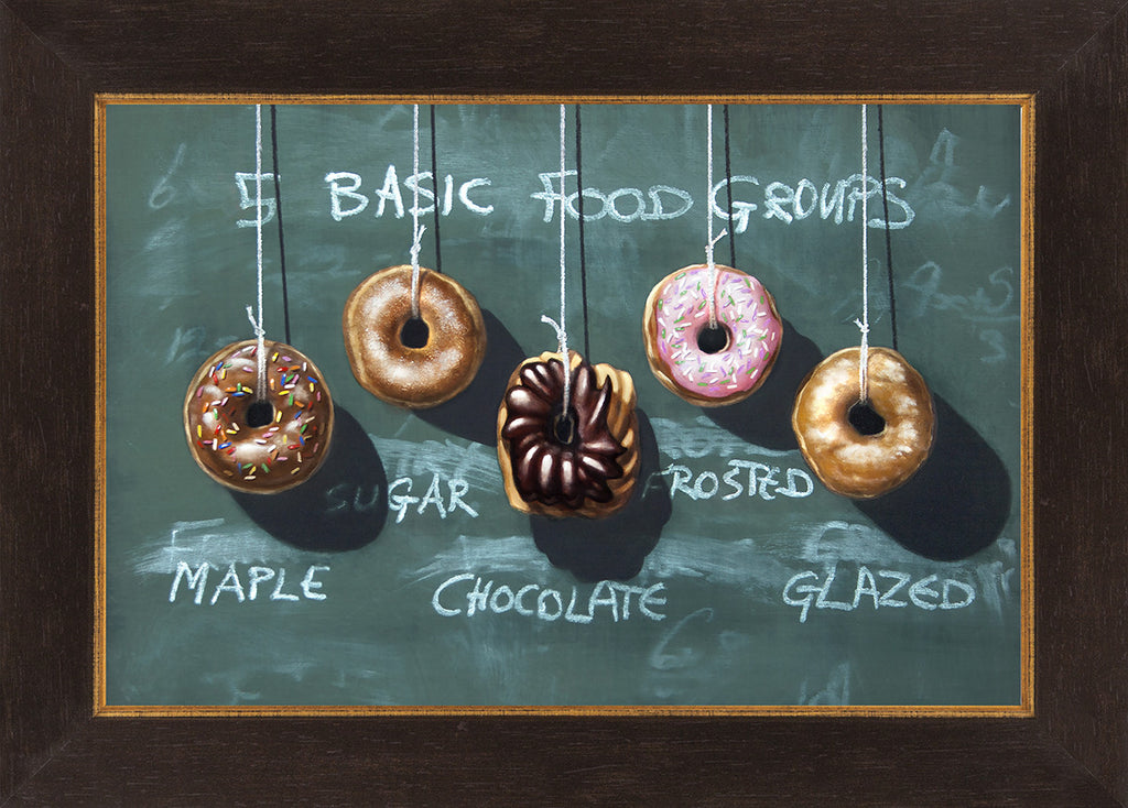 Five Food Groups, donuts, diet humor, kitchen art, Richard Hall, framed canvas giclee print