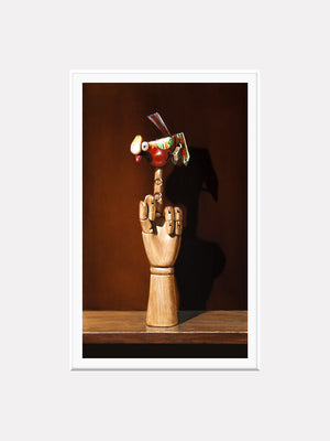 Flipping the Bird, Richard Hall matted print, cheeky, one finger salute, tin toy bird