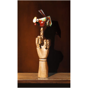 Flipping the Bird, Richard Hall canvas giclee print, cheeky, one finger salute, tin toy bird
