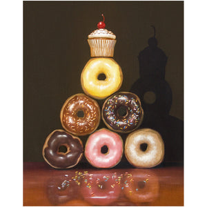 Food Pyramid, Richard Hall, canvas giclee print, donut pyramid, donut diet humor