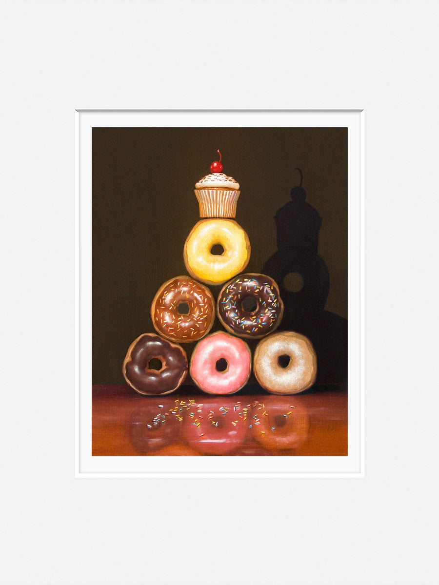 Food Pyramid Humorous Diet Amp Donut Kitchen Print
