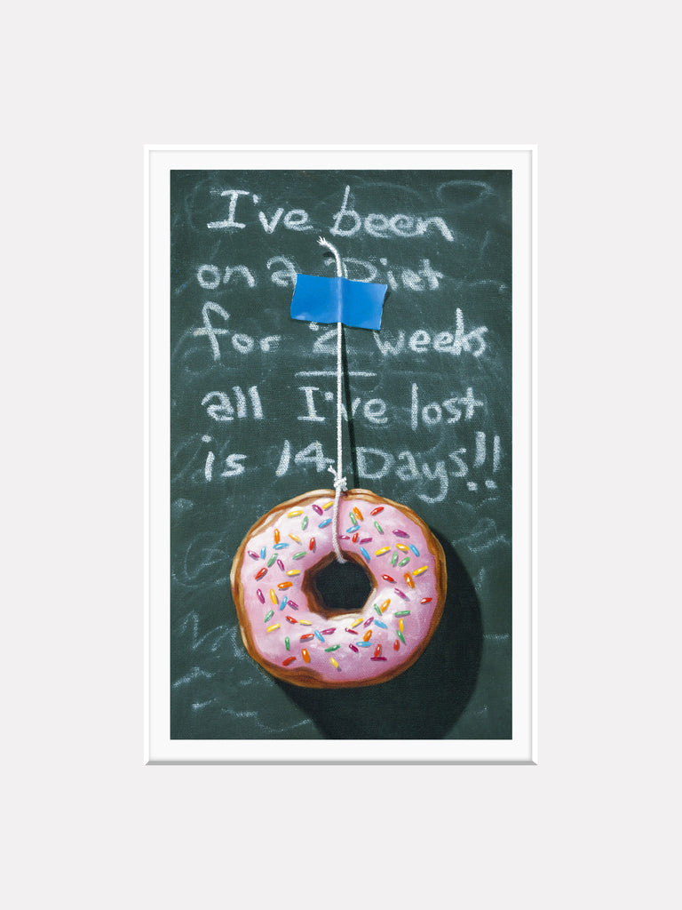 Fourteen Day Diet, donut and diet humor, Richard Hall matted giclee print