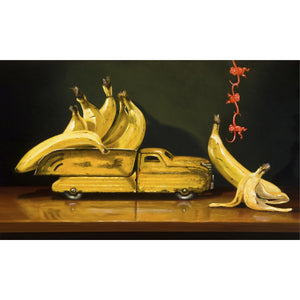 Going Bananas, Richard Hall print, truck, bananas, monkey toy art