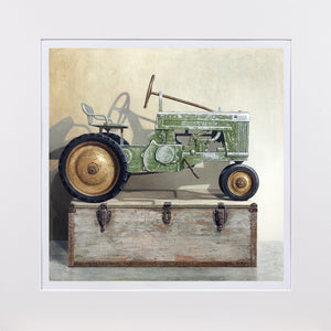 Going Green, Pedal tractor, toolbox, Richard Hall painting
