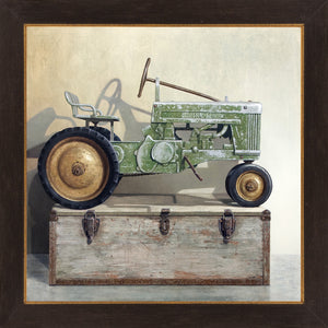 Going Green, Pedal tractor, toolbox, Richard Hall, framed canvas giclee print