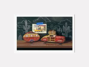 Grand Vacation, Richard Hall Fine Art, tin toy car, camper, chalkboard, realism, matted giclee print