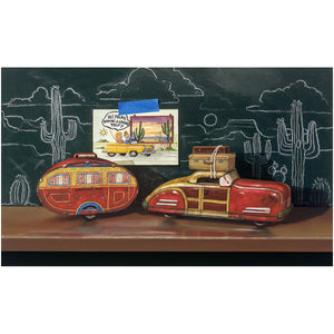 Grand Vacation, Richard Hall Fine Art, tin toy car, camper, chalkboard, realism, giclee print
