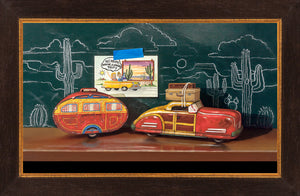 Grand Vacation, Richard Hall Fine Art, tin toy car, camper, chalkboard, realism, framed canvas giclee print