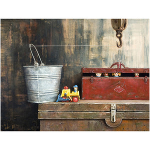 The Great Escape, toys escape from toolbox, giclee print