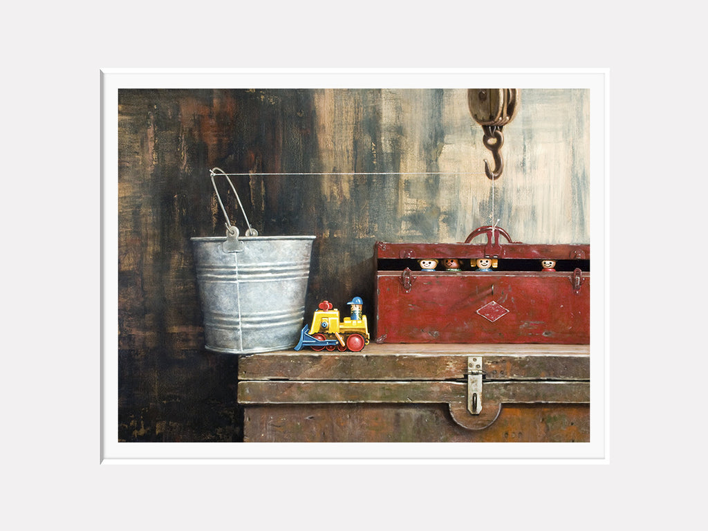 The Great Escape, toys escape from toolbox, matted giclee print