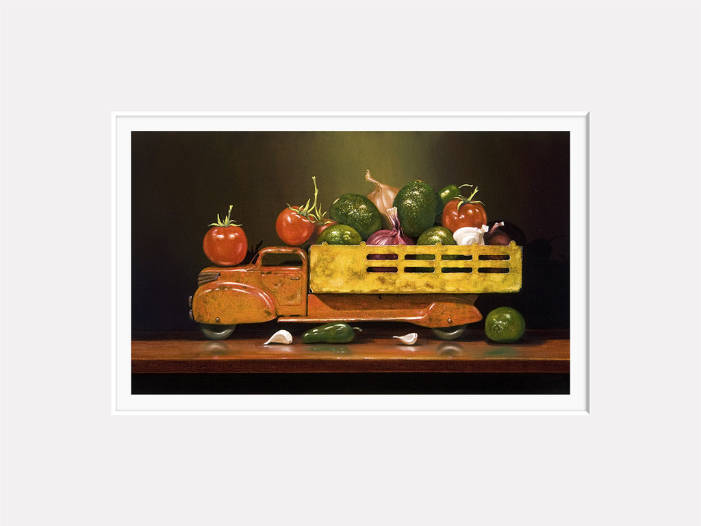 Guacamobile, guacamole, truck, avocado, Richard Hall matted giclee print