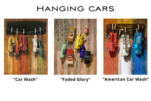 Hanging Cars Greeting Cards