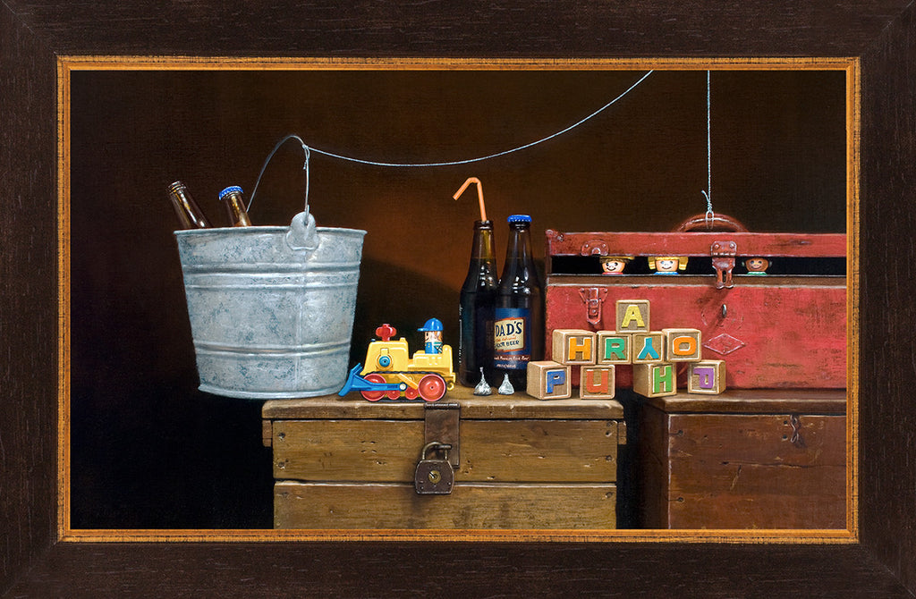 Happy Hour, Toys escape to a party, Richard Hall, framed canvas giclee print