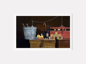 Happy Hour, Toys escape to a party, Richard Hall, matted giclee print