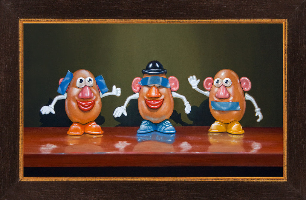 Hear No Speak No See No, potato toys, taters, blue tape, Richard Hall, framed giclee print