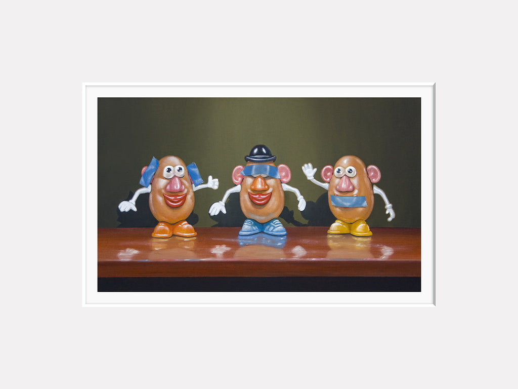 Hear No Speak No See No, potato toys, taters, blue tape, Richard Hall matted giclee print