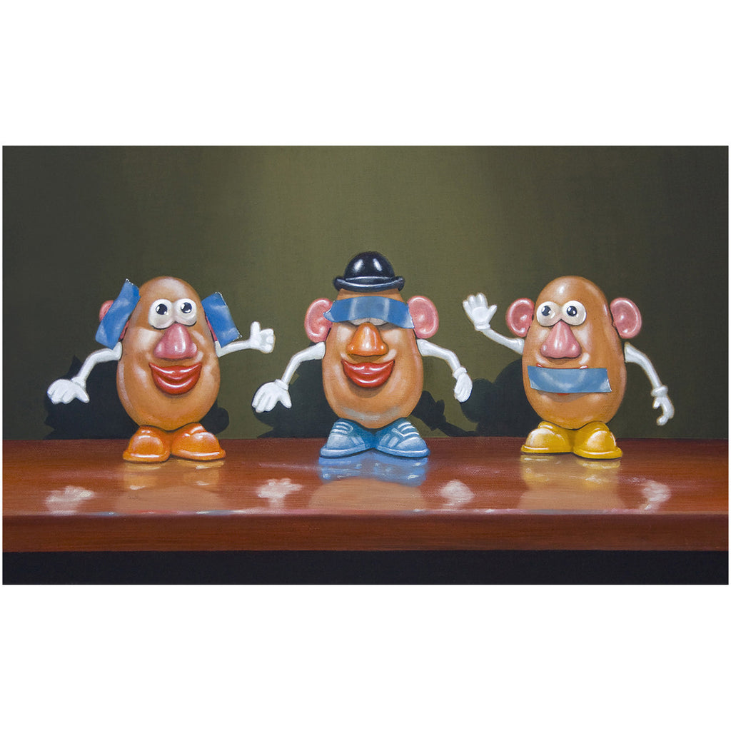 Hear No Speak No See No, potato toys, taters, blue tape, Richard Hall, giclee print