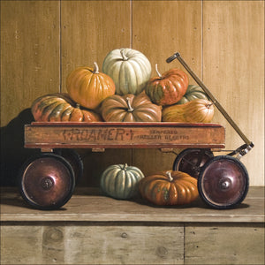 Herilooms, vintage wagon, heirloom pumpkins, Richard Hall, giclee print