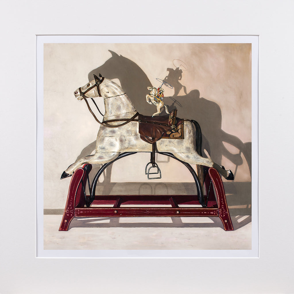 Hi Yo Silver, award winning art, vintage horse toys, Richard Hall matted giclee print